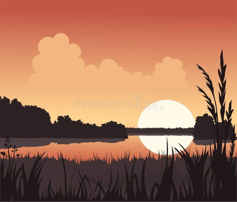Tramonto e lago illustrazione di stock