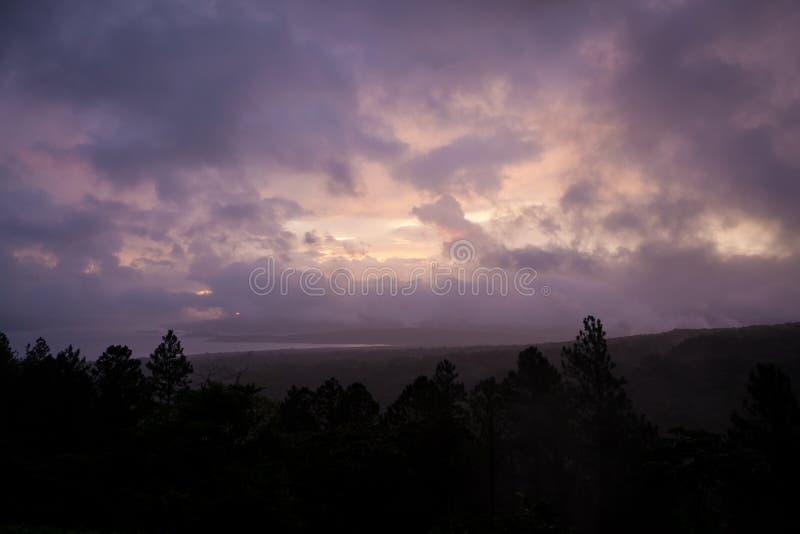 Tramonto e paesaggio nuvolosi della foresta fotografia stock