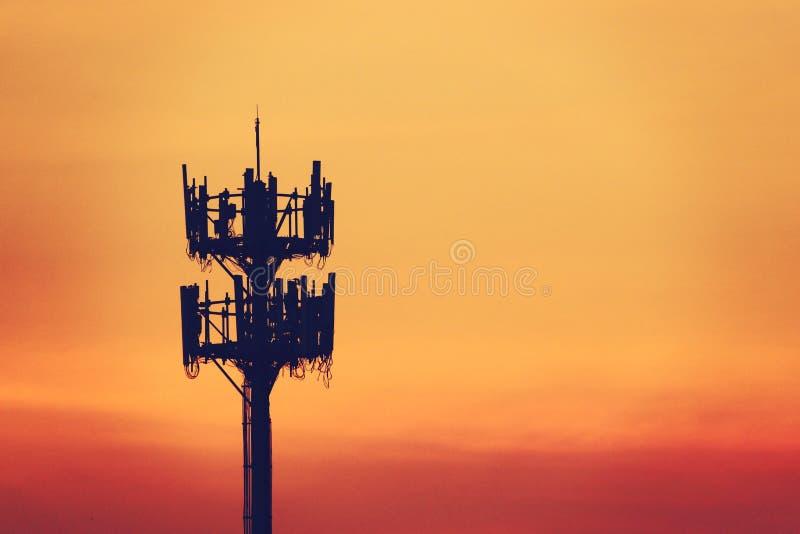 Tramonto ed albero alto con l'antenna cellulare fotografie stock libere da diritti