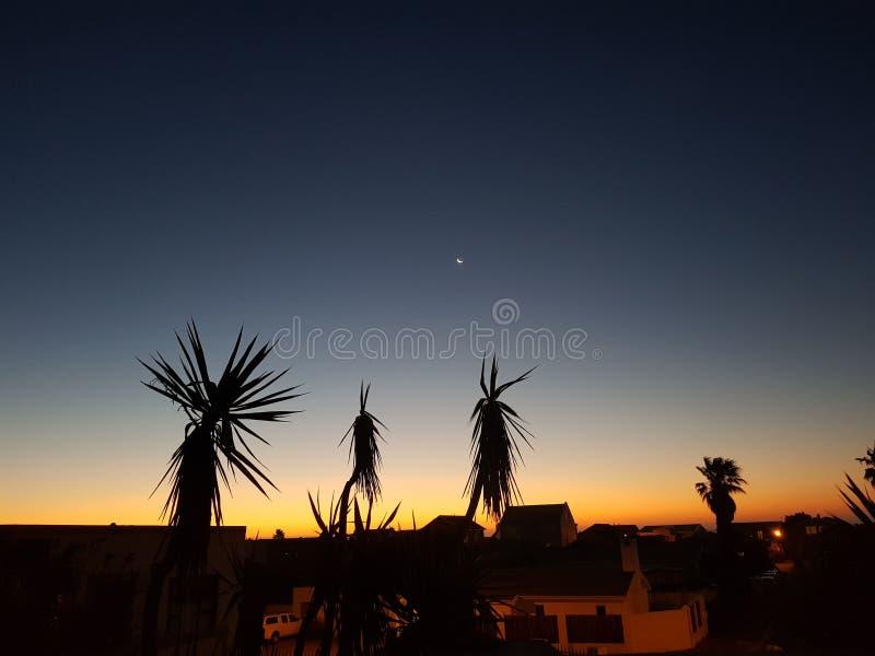 Tramonto ed ombre Melkbosstrand Città del Capo Sudafrica immagini stock