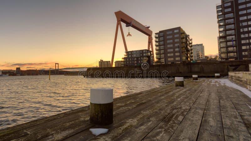 Tramonto EriksBerg, Gothenburg, Svezia 2018 fotografia stock