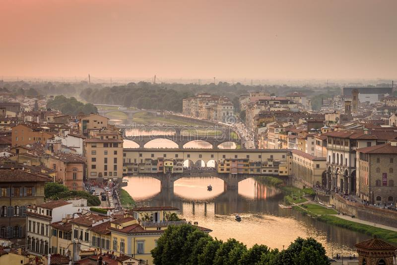 Tramonto a Firenze immagine stock