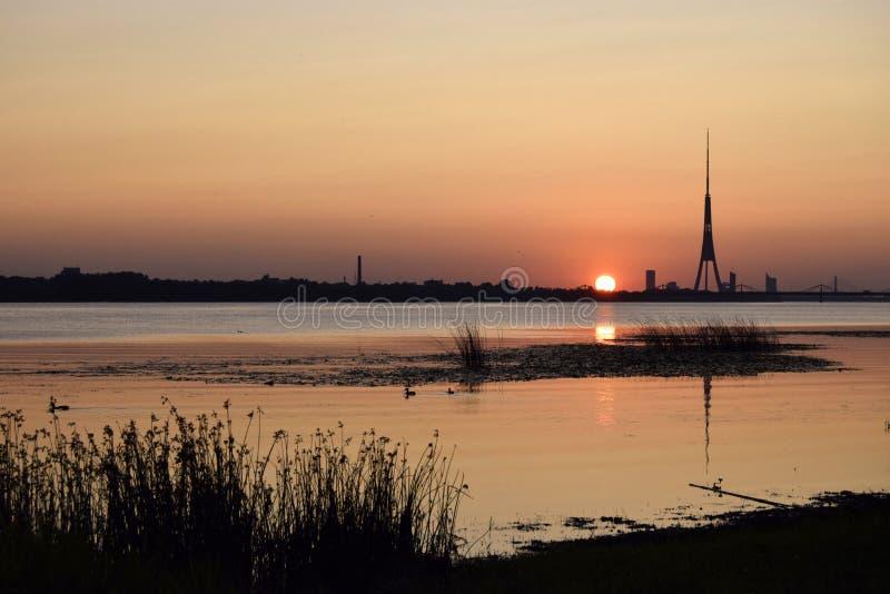 Tramonto, fiume occidentale di Davgava del fiume di Dvina, estate, sera Paesaggio naturale degli Stati Baltici immagine stock libera da diritti
