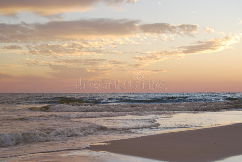 Tramonto Florida Pan Handle della spiaggia fotografia stock