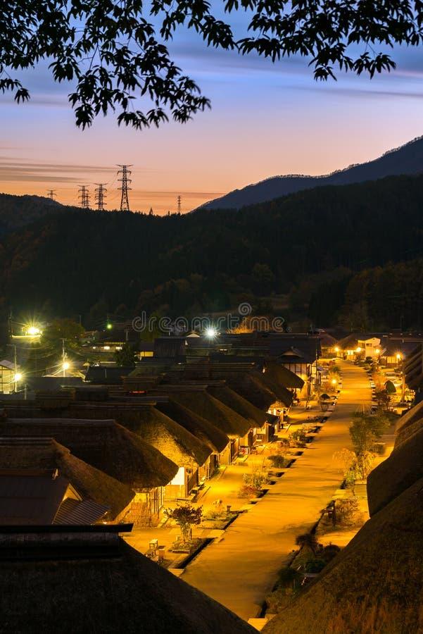 Tramonto Fukushima Japan del villaggio di Ouchujuku fotografia stock