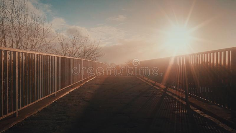 Tramonto Haze Bridge fotografia stock