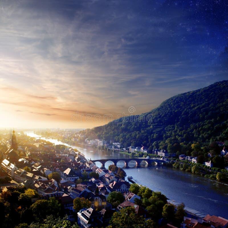 Tramonto a Heidelberg immagine stock libera da diritti