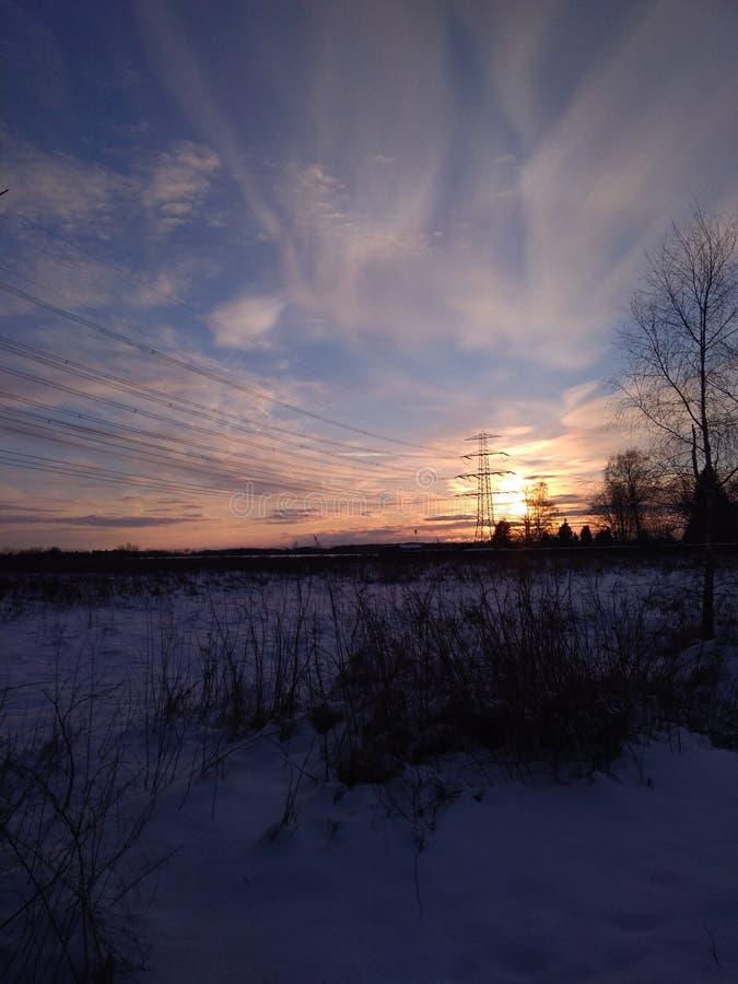 Tramonto in inverno fotografia stock libera da diritti