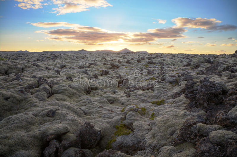 Tramonto in Islanda fotografie stock