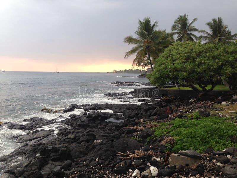 Tramonto in Kona Hawai fotografia stock
