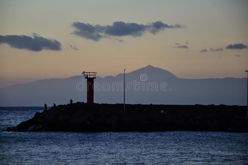 Tramonto in La Aldea Gran Canaria immagine stock libera da diritti