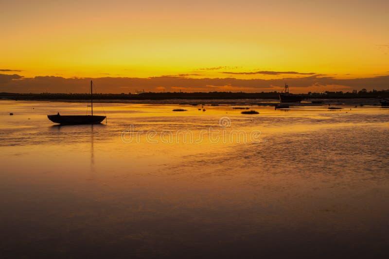 Tramonto a Leigh On Sea, Essex, Inghilterra fotografia stock