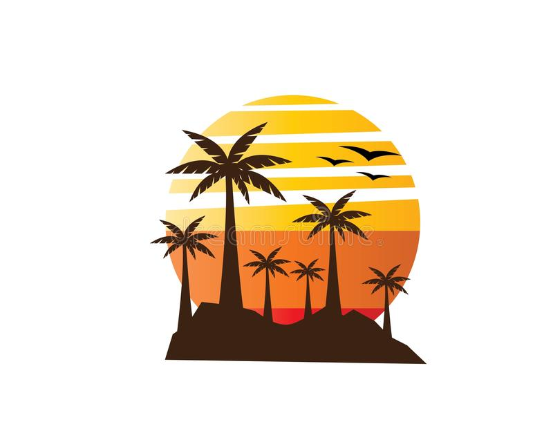 Tramonto Logo Template illustrazione vettoriale