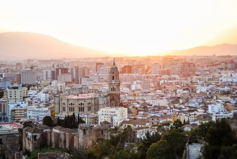 Tramonto a Malaga Spagna fotografia stock libera da diritti