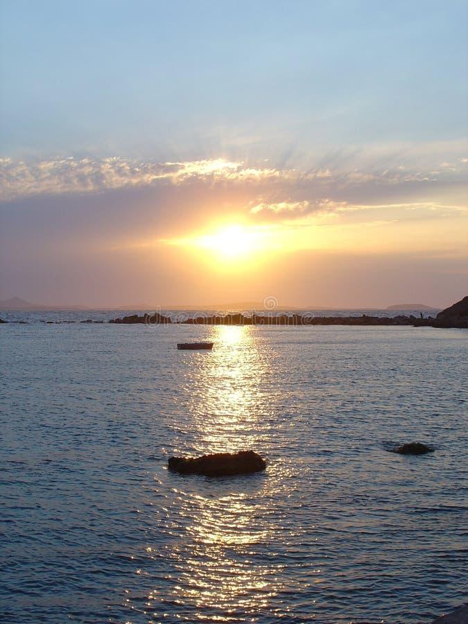 Tramonto in Mar Egeo immagini stock libere da diritti