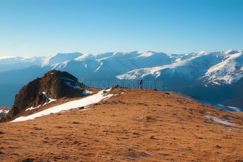 Tramonto in montagne di Valcan fotografia stock