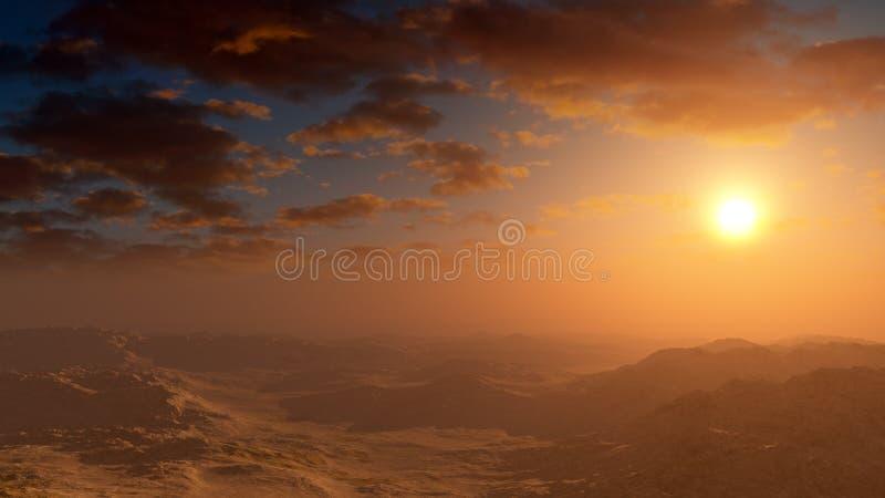 Tramonto morbido del deserto di fantasia illustrazione di stock