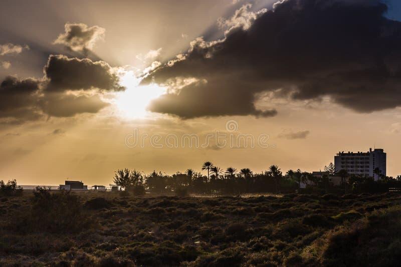 Tramonto Morro Jable, Fuerteventura, Spagna fotografia stock