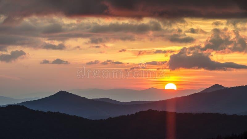 Tramonto NC di Great Smoky Mountains immagine stock libera da diritti