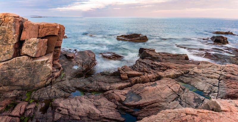 Tramonto nel parco nazionale di acadia fotografia stock libera da diritti
