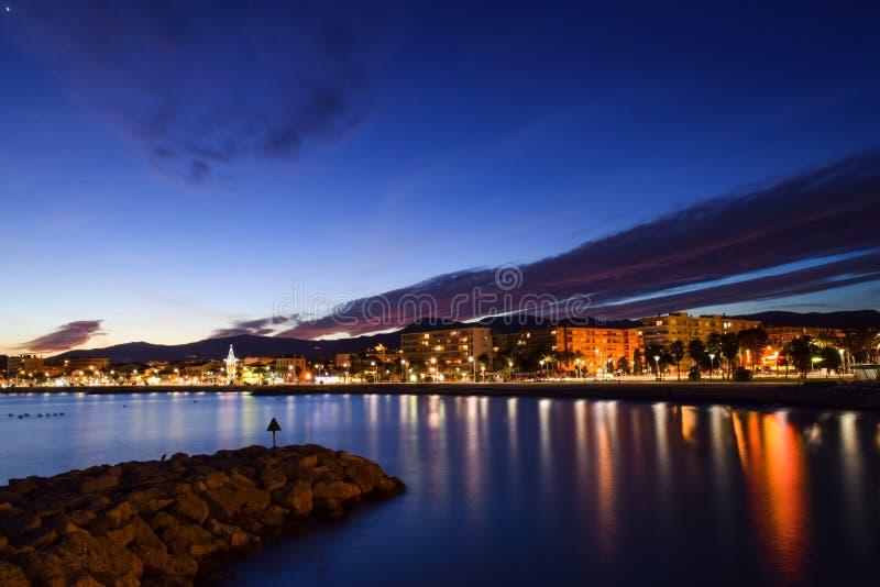 Tramonto nel sur Mer di Cagnes sul Riviera francese fotografia stock libera da diritti