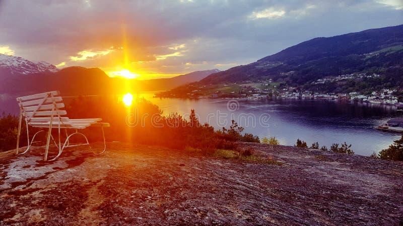 Tramonto in Norvegia immagini stock