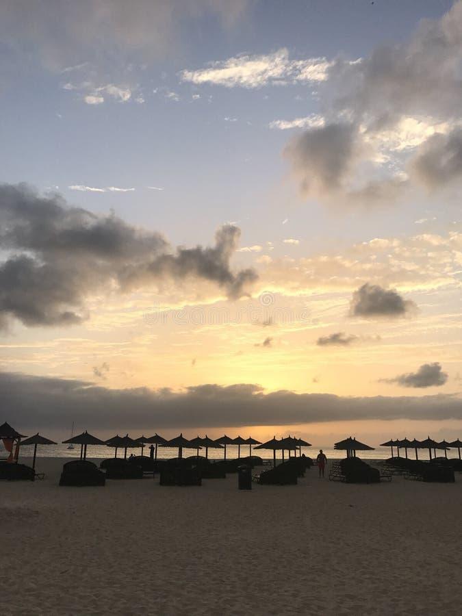 Tramonto nuvoloso in Capo Verde immagine stock