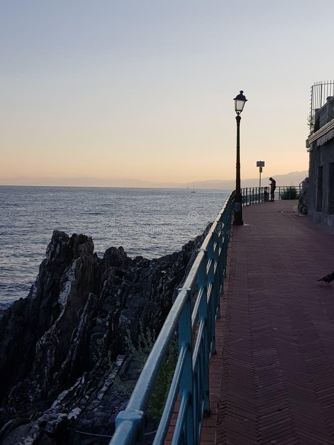 Tramonto passeggiata Garibaldi nervi genova italy. Twilight in genova Italy nervi stock image