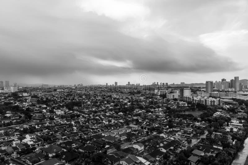 Tramonto in Petaling Jaya, Selangor, Malesia immagine stock