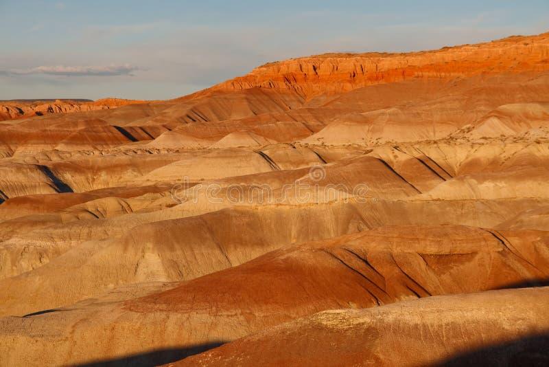 Tramonto a poco deserto verniciato, Arizona immagini stock