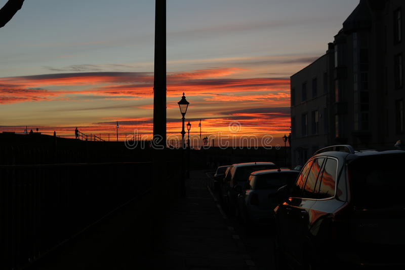Tramonto a Portsmouth Regno Unito immagine stock