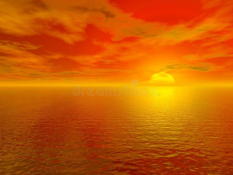 Tramonto rosso sanguinante sopra l'acqua 3d dell'oceano resa illustrazione vettoriale