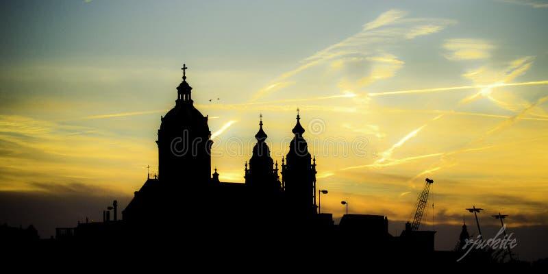 Tramonto santo di Amsterdam fotografie stock libere da diritti