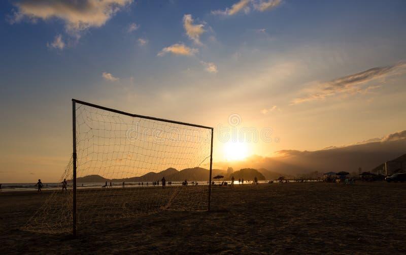 Tramonto in Santos, Brasile immagini stock libere da diritti