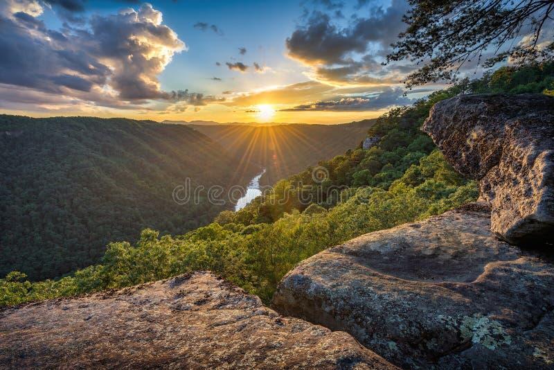 Tramonto scenico, Virginia Occidentale, nuova gola del fiume fotografia stock libera da diritti