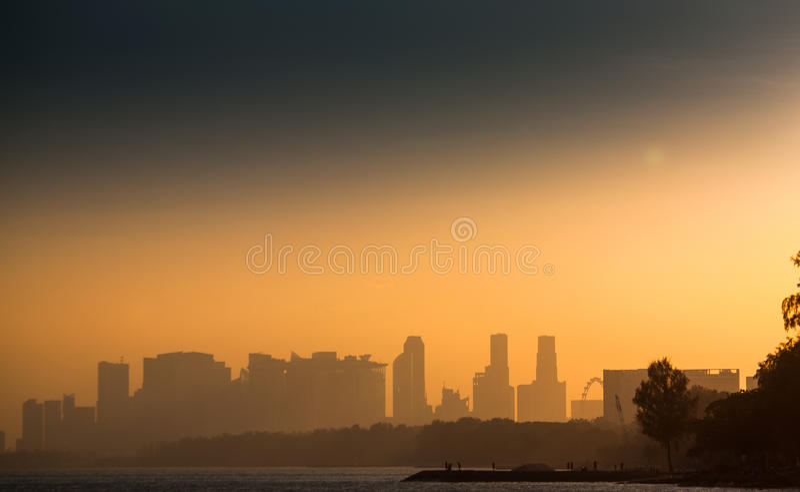 Tramonto a Singapore fotografia stock