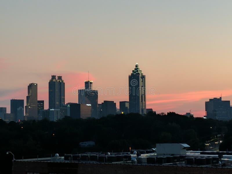 Tramonto sopra Atlanta immagini stock libere da diritti
