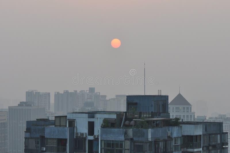 Tramonto sopra Chongqing City fotografia stock