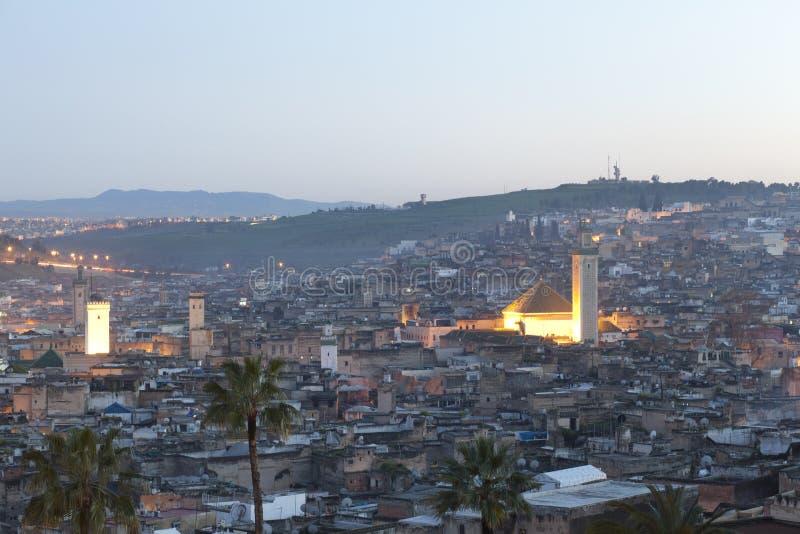 Tramonto sopra Fes in Marocco fotografia stock