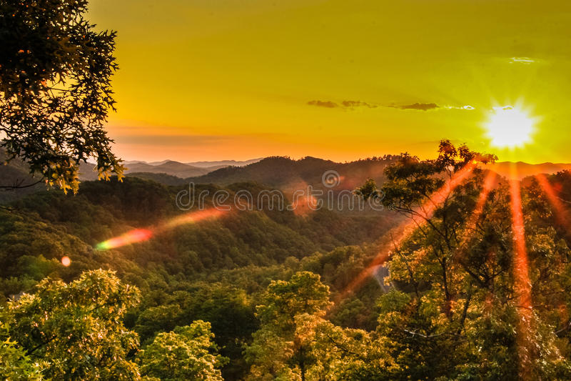 Tramonto sopra Great Smoky Mountains immagine stock