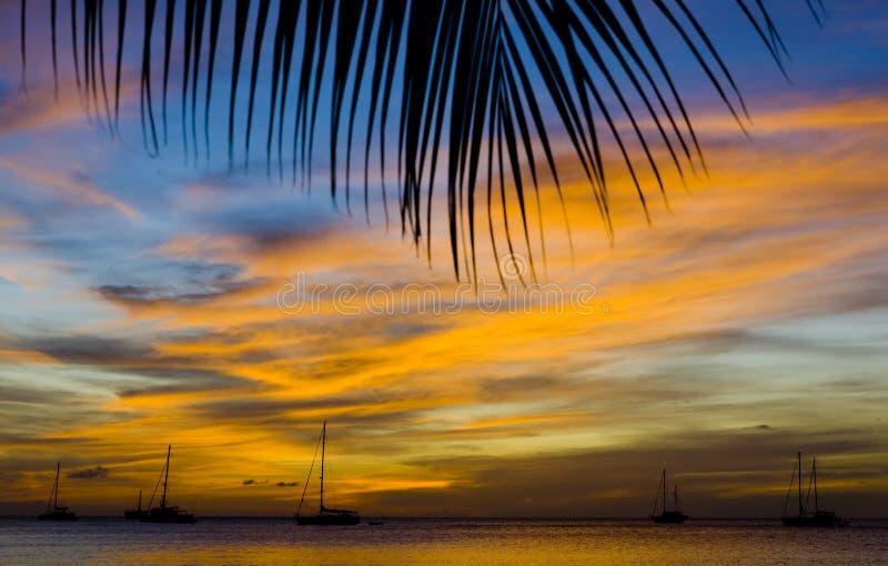 Tramonto sopra il mare caraibico fotografia stock libera da diritti