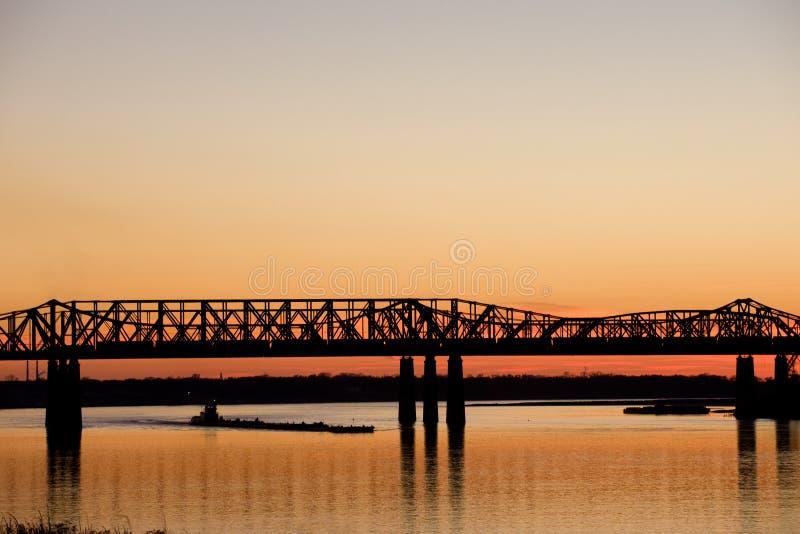 Tramonto sopra il Mississippi fotografia stock libera da diritti