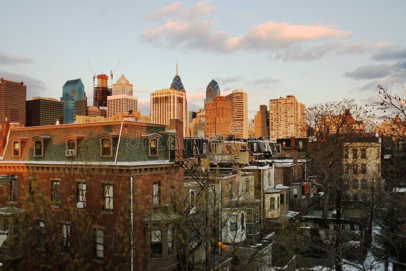 Tramonto sopra Philadelphia del centro fotografia stock libera da diritti