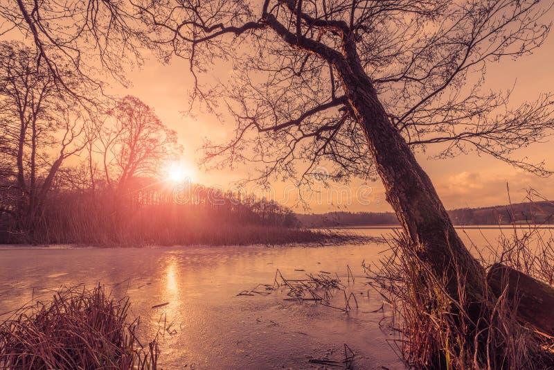 Tramonto sopra un lago congelato nell'inverno fotografia stock