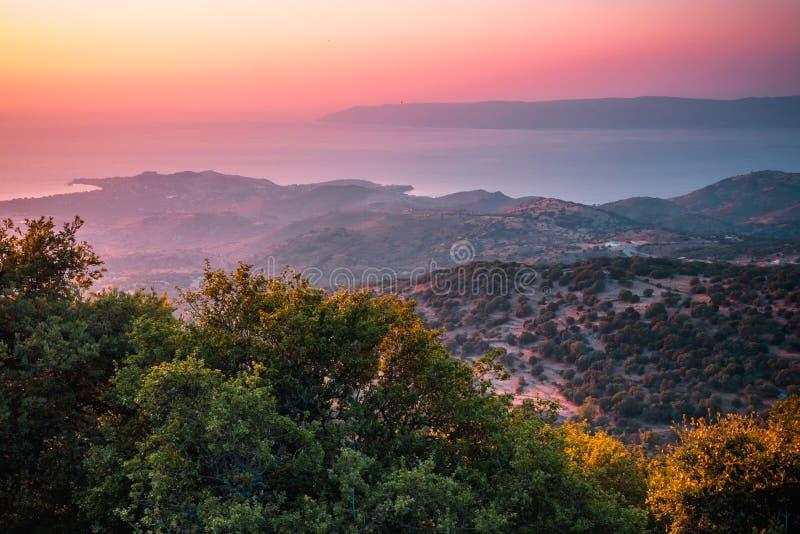 Tramonto su Lesbos immagini stock libere da diritti