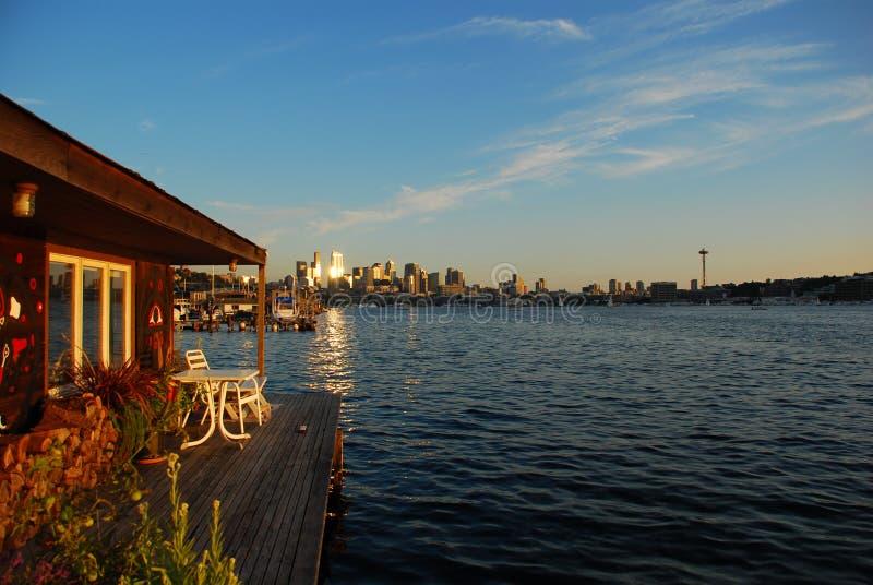 Tramonto su Seattle immagine stock