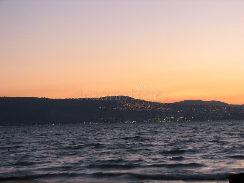 Tramonto su Tiberias fotografia stock