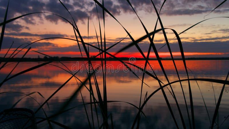 Tramonto sul fiume Volga fotografia stock