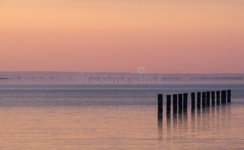 Tramonto sul lago Balaton fotografie stock libere da diritti
