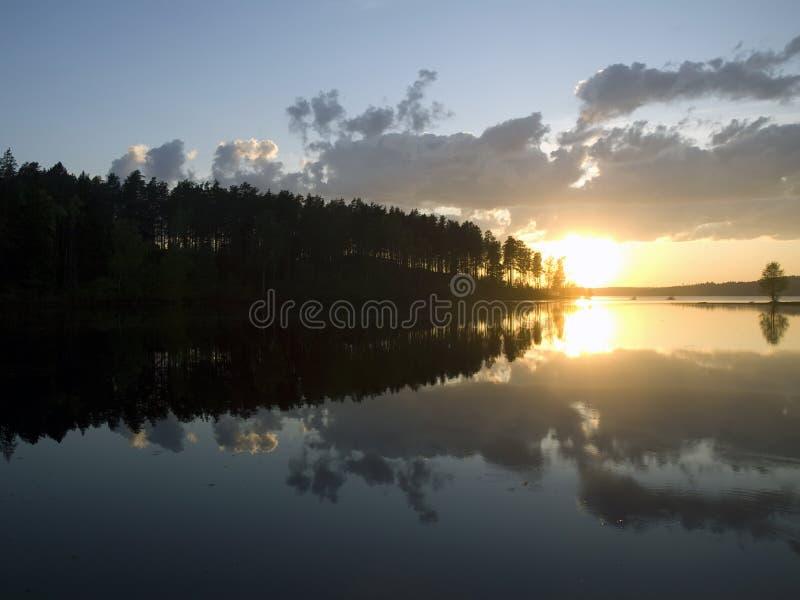 Tramonto sul lago calmo della foresta immagine stock